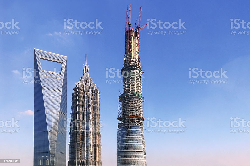 Shanghai Tower and Skyscrapers royalty-free stock photo