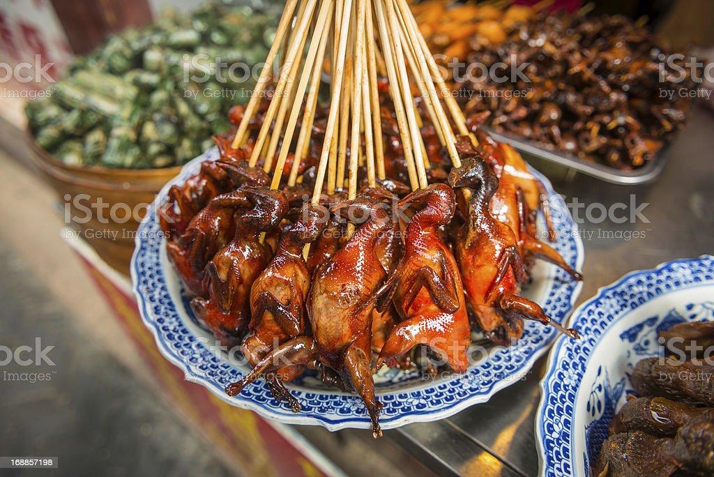 Shanghai traditional street food on sticks China stock photo