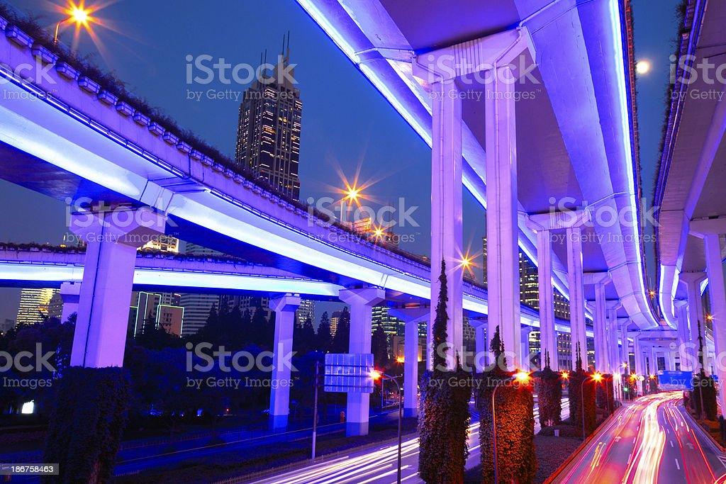 Shanghai Traffic at Night royalty-free stock photo
