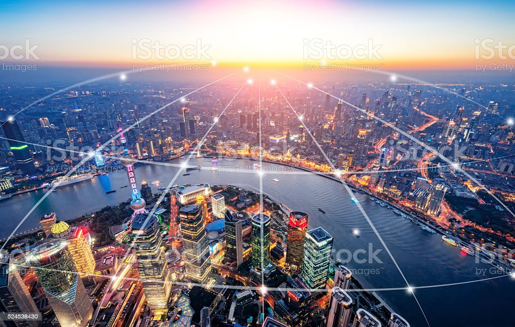 Shanghai urban network stock photo