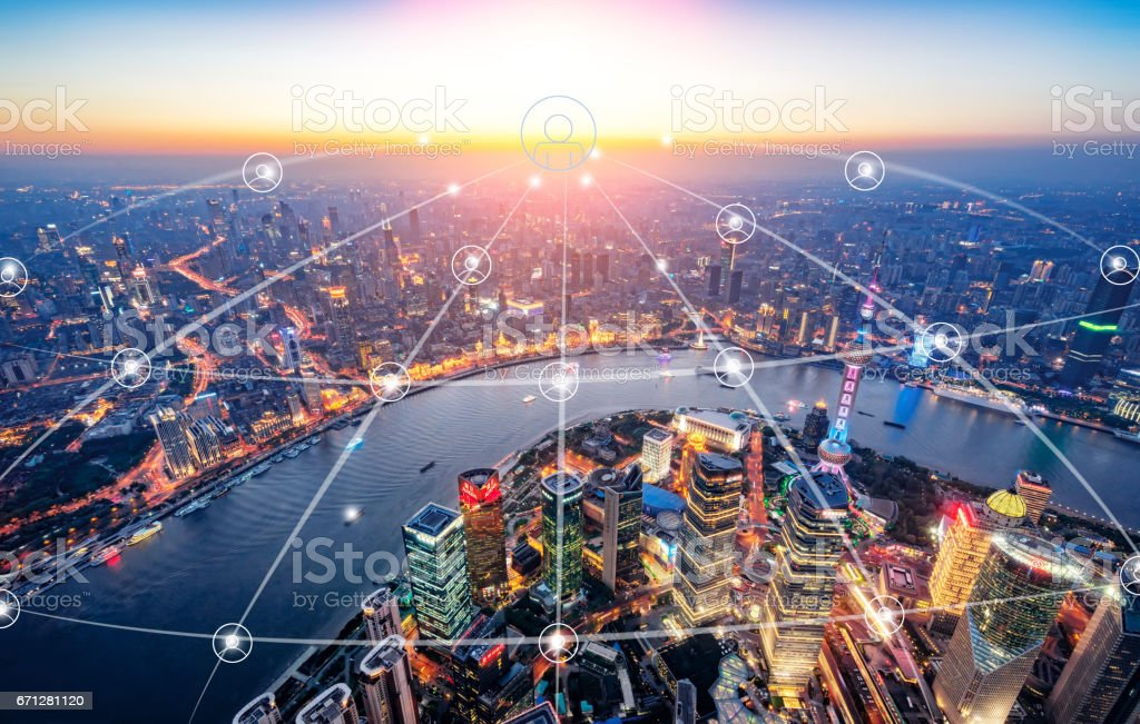 Shanghai urban network space stock photo