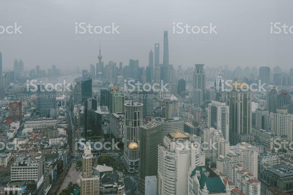 Shanghai Urban Skyline in air pollution stock photo