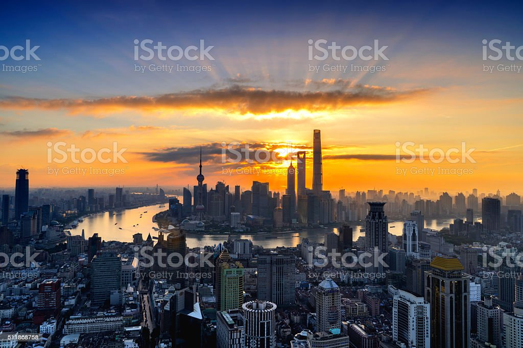 Shanghai Urban Skyline Sunrise stock photo