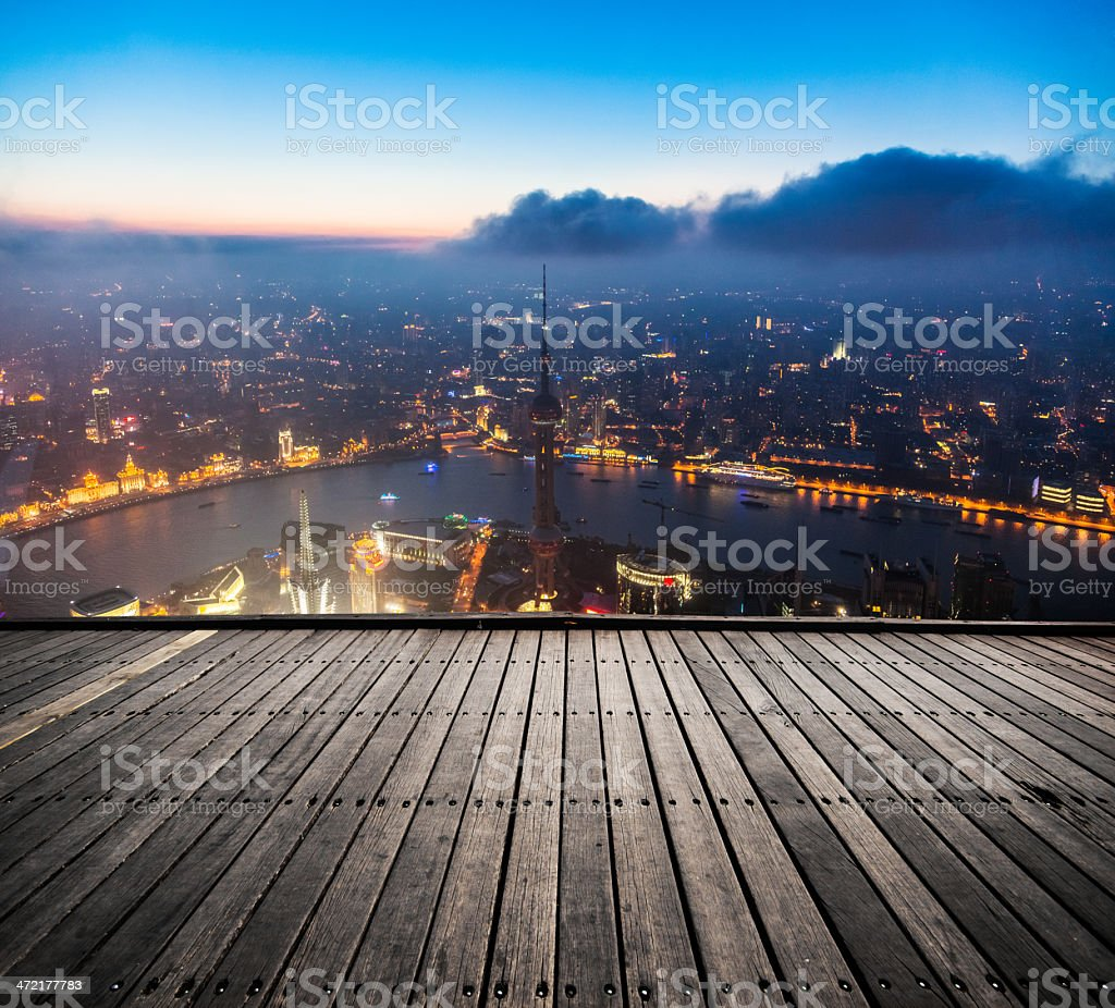 Shanghai view from a board walk stock photo