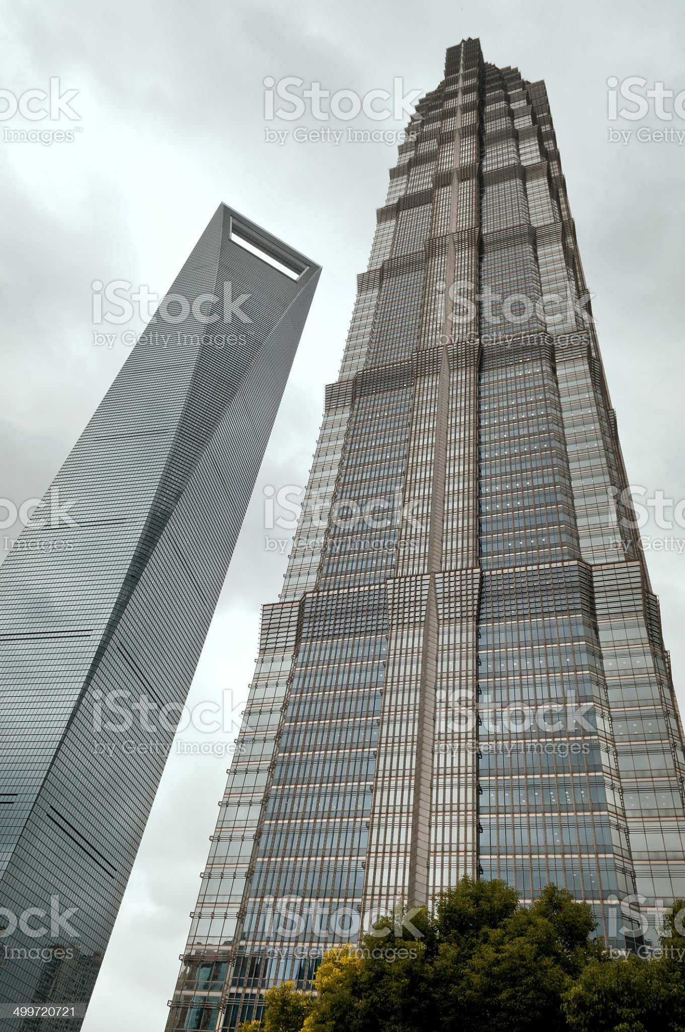 Shanghai World Financial Center and Jin Mao Tower royalty-free stock photo