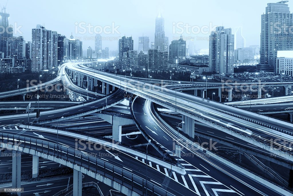Shanghai Yan'an Road Viaduct Night stock photo