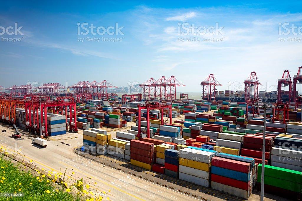 Shanghai Yangshan deepwater port stock photo