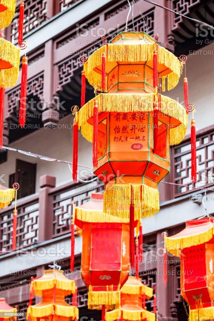 Shanghai yuyuan garden red lanterns to celebrate the Lantern Festival in China stock photo