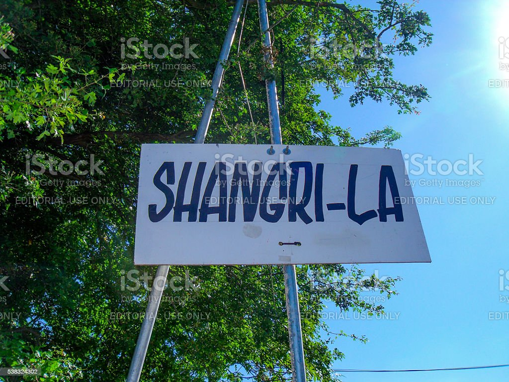 Shangri-La Sign Glastonbury Festival stock photo