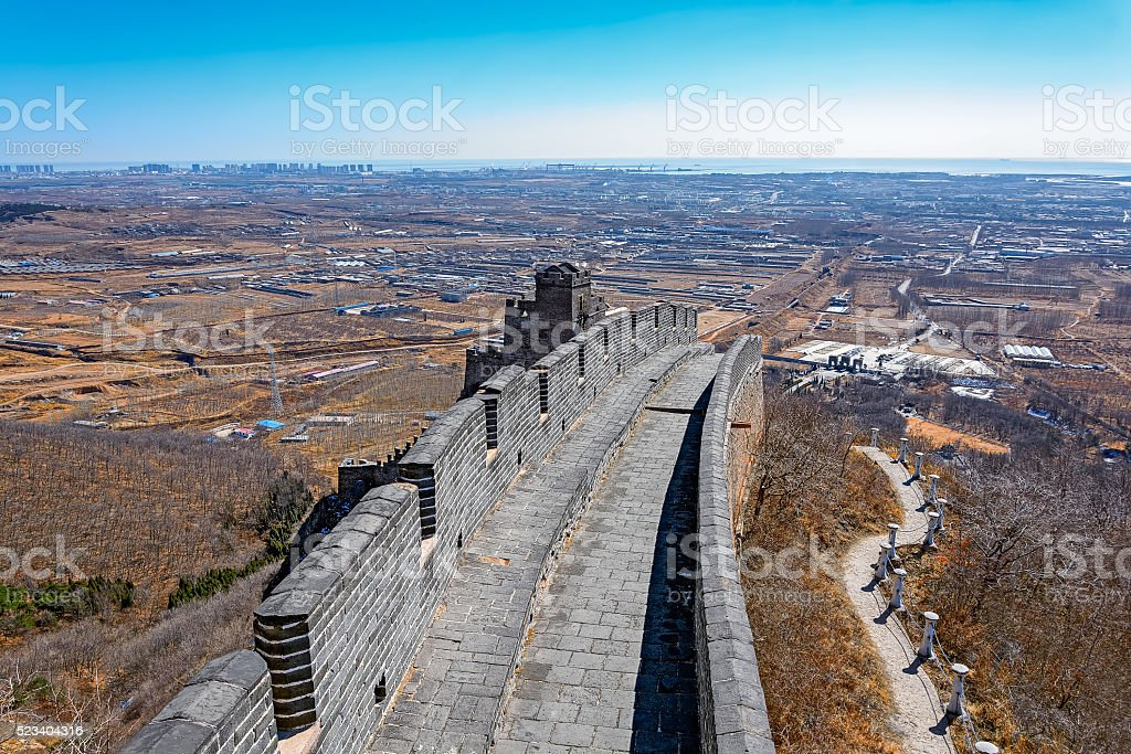 Shanhaiguan Pass at Great China Wall stock photo