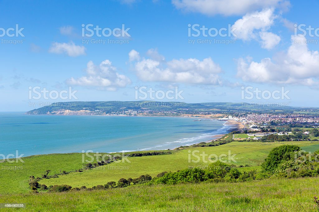 Shanklin and Sandown Isle of Wight coast view stock photo
