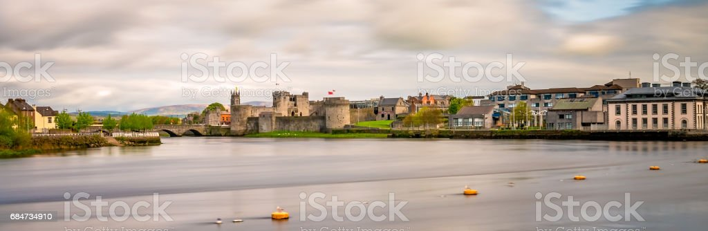 Shannon river and the King Johns Castle stock photo