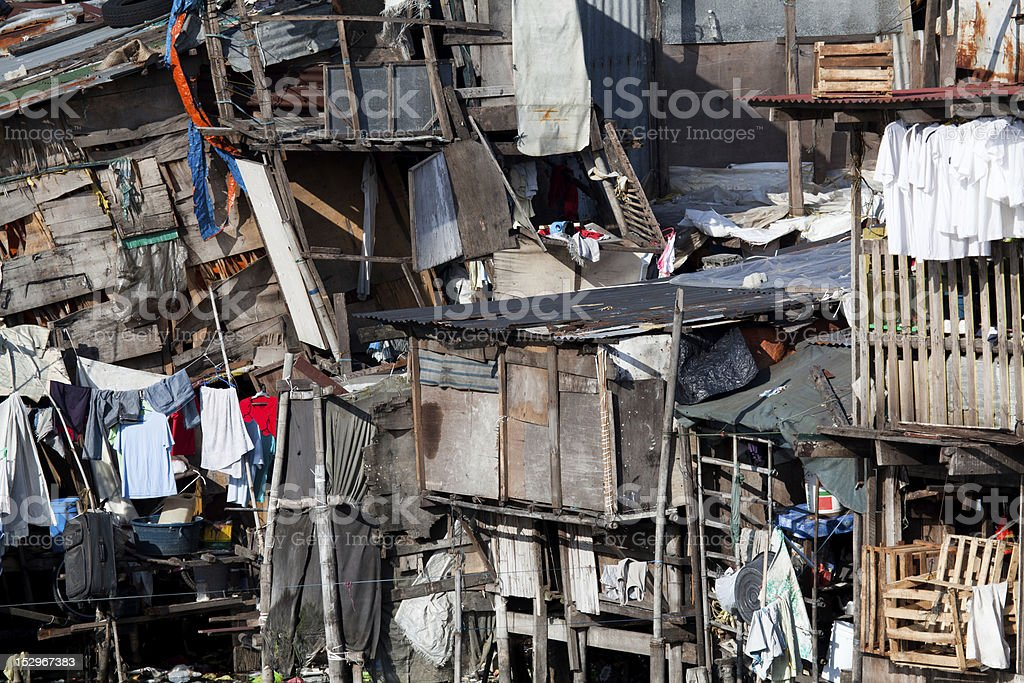 Shanty - Squatter housing in Asia stock photo