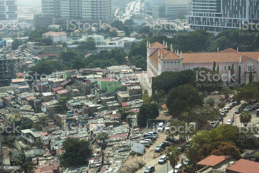 Shanty Town and Church in Luanda, Angola stock photo