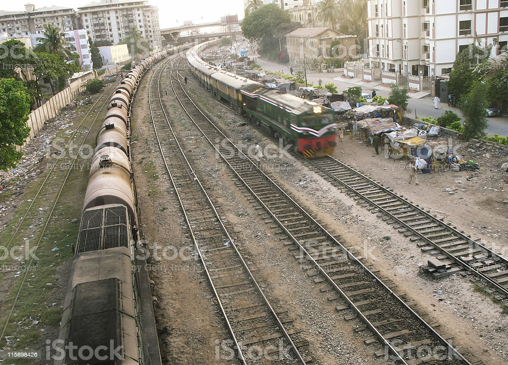 Shanty Town and train royalty-free stock photo