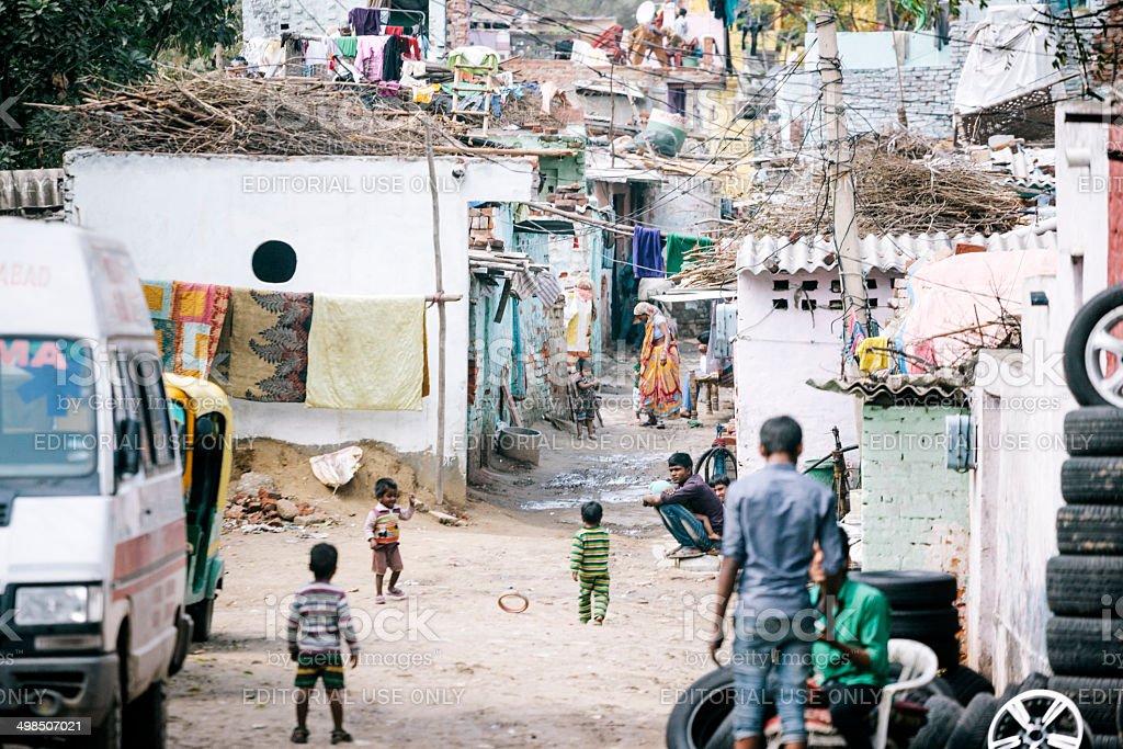 Shanty town, Delhi stock photo