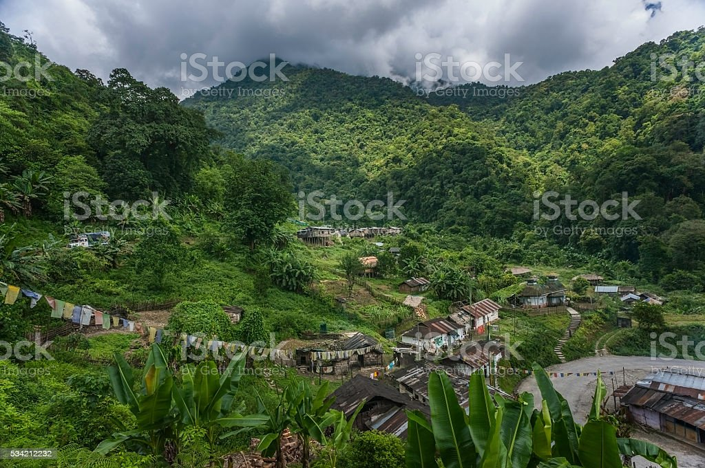 Shanty town on route to Tawang from Assam, Arunachal Pradesh. stock photo