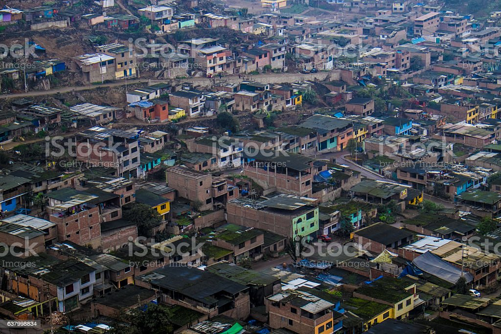 Shanty Town Slums of Lima, Peru stock photo