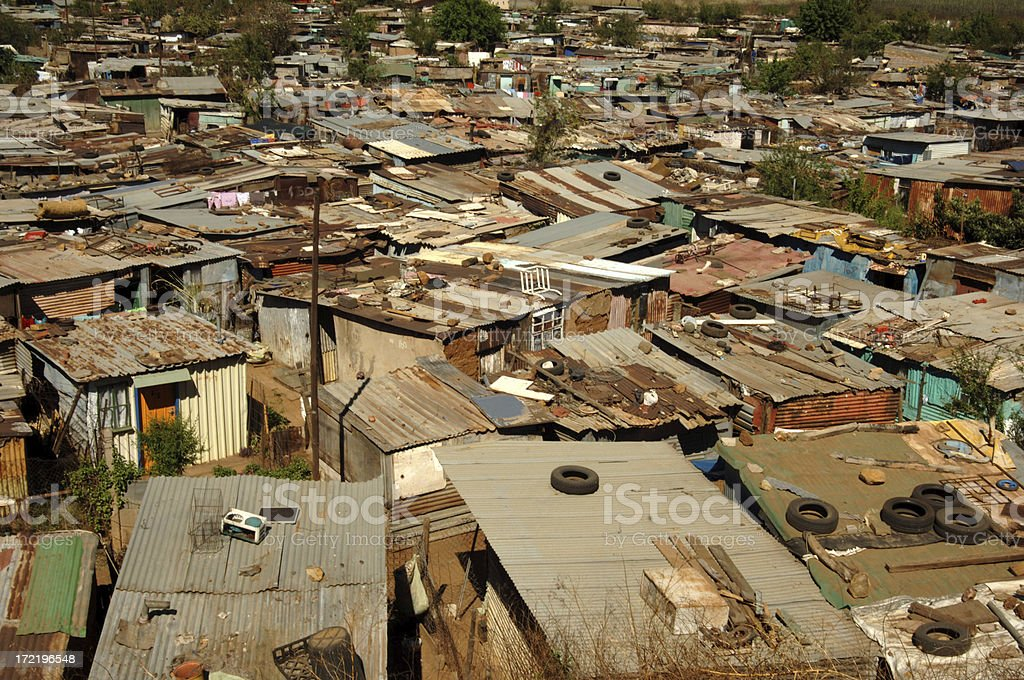 Shantytown shacks Soweto Township South Africa stock photo