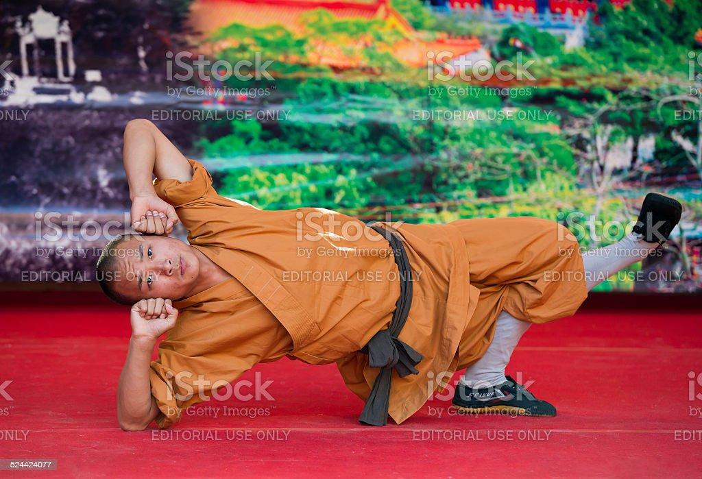 Shaolin monk performance stock photo