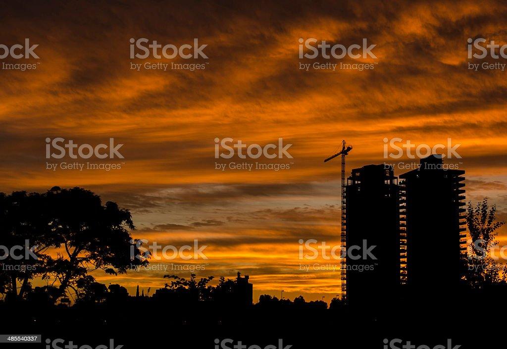 Shape and sunset stock photo