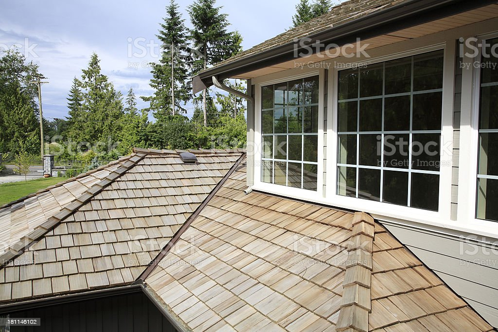 Shape And Texture Of A New Cedar Shingle Roof stock photo