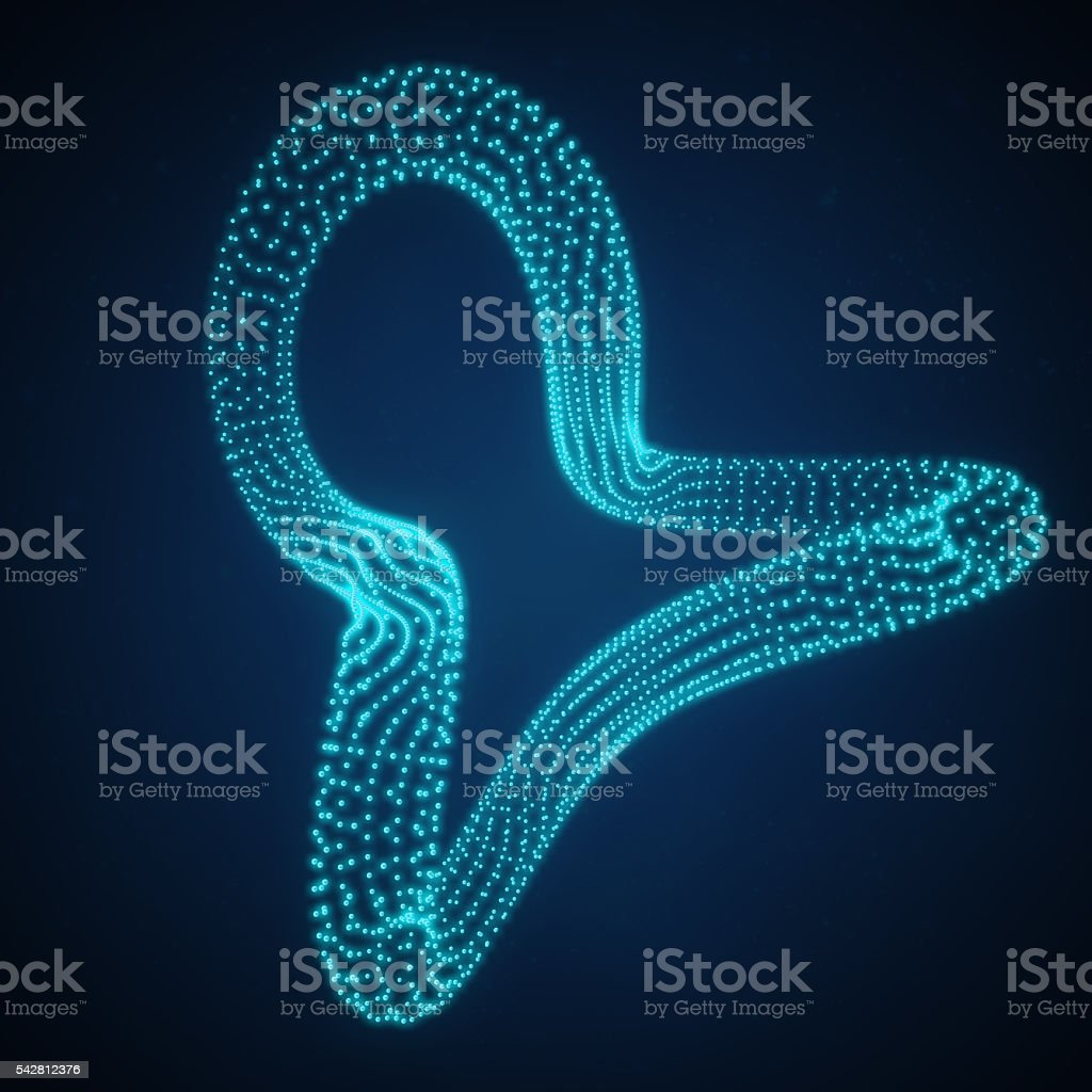 Shape Consisting of Points. 3d illustration, technology style. stock photo