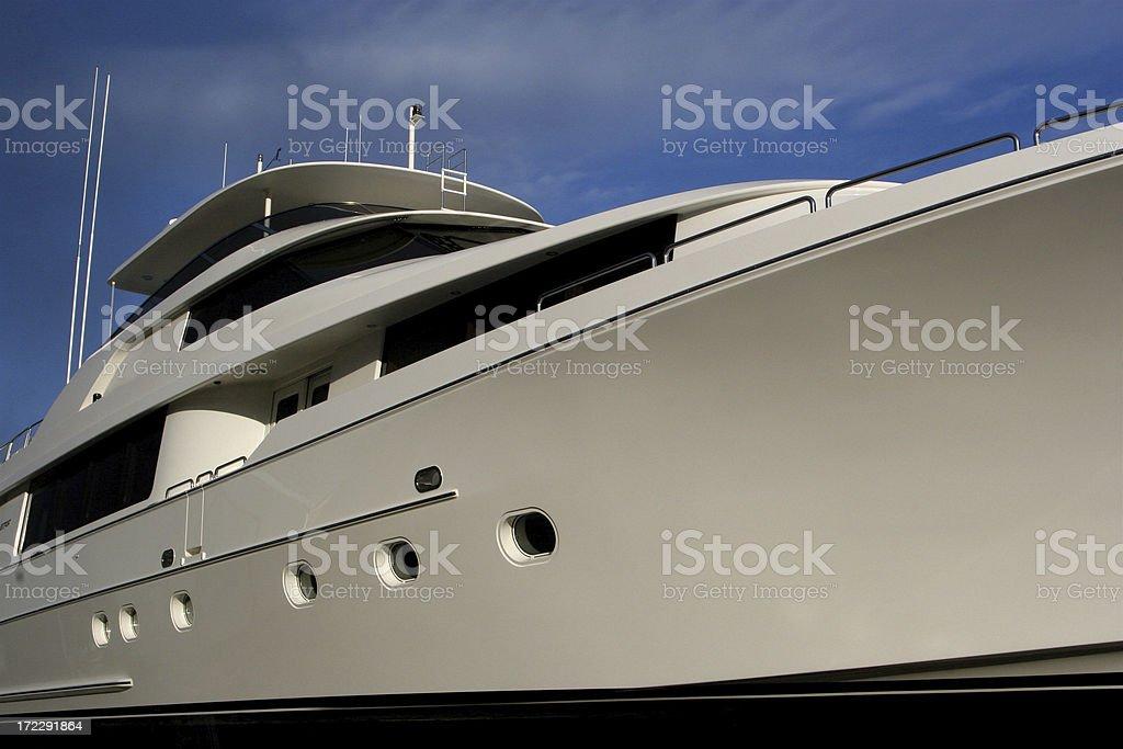 Shape of Luxury Million Dollar Yacht royalty-free stock photo