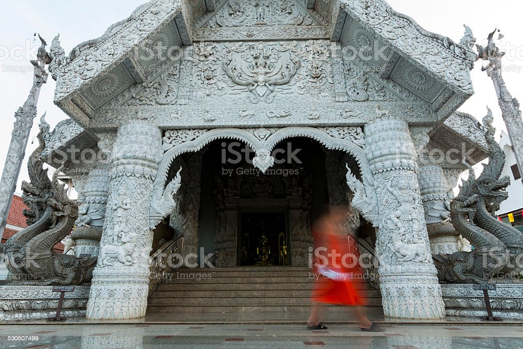Shape of monk at temple in Thailand stock photo