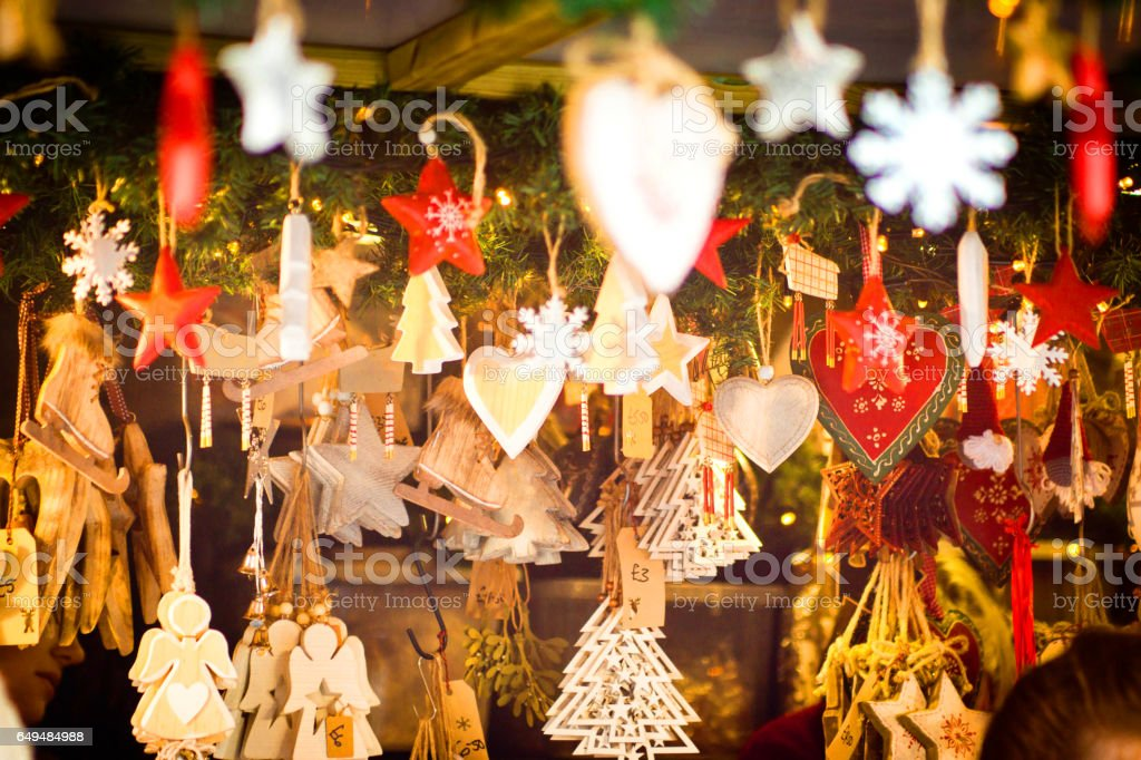 Shaped Christmas decorations stock photo