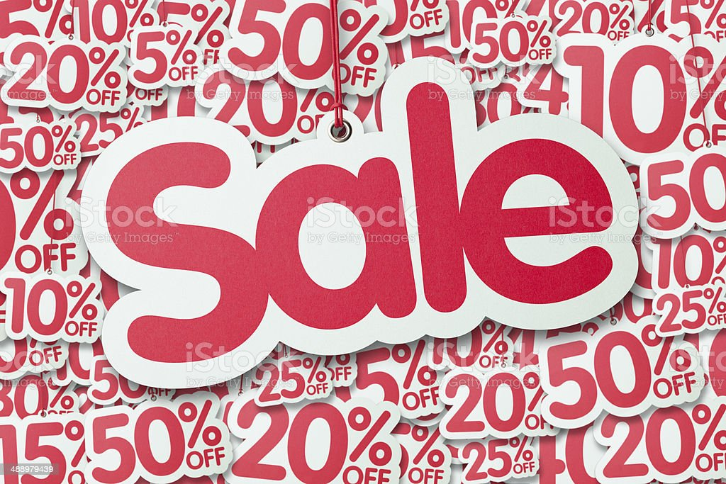 SALE shaped label against different percentage discount price tags stock photo