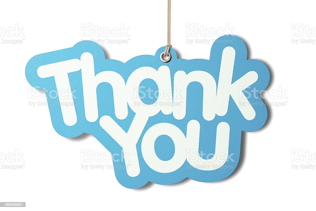 THANK YOU shaped label hanging from cord stock photo