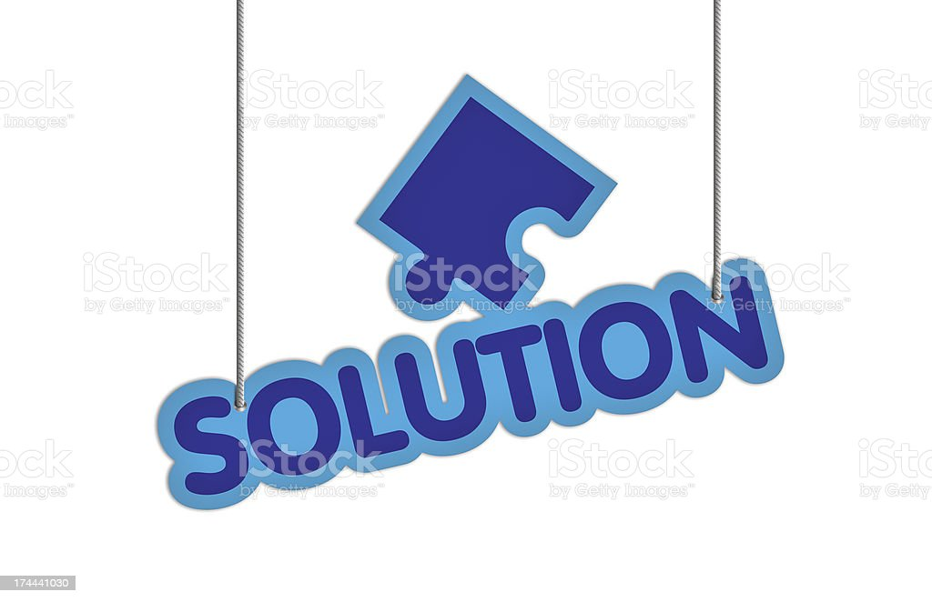 SOLUTION Shaped Label on Price Tag royalty-free stock photo