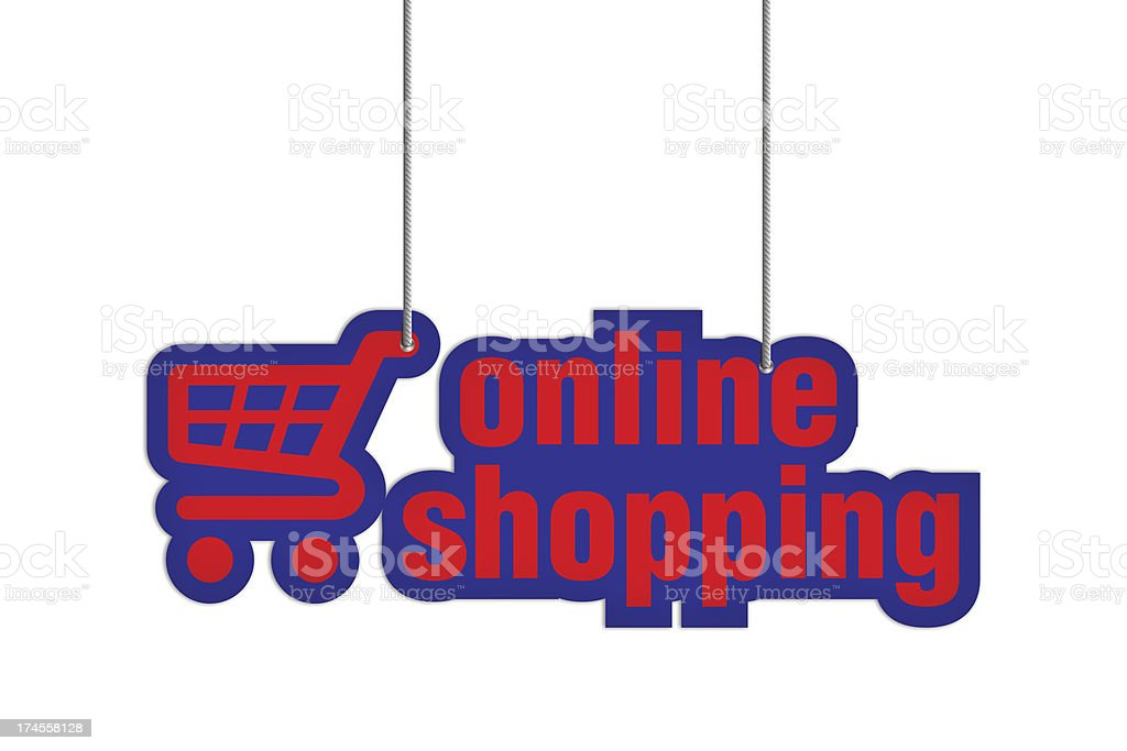 ONLINE SHOPPING Shaped Label on Price Tag royalty-free stock photo