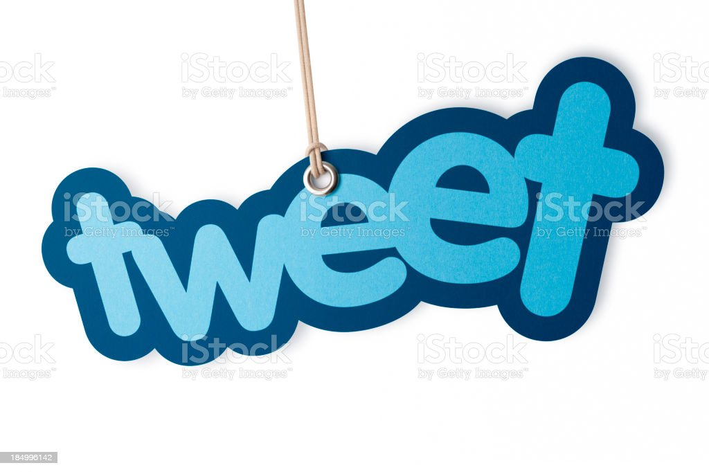 TWEET shaped label on price tag royalty-free stock photo