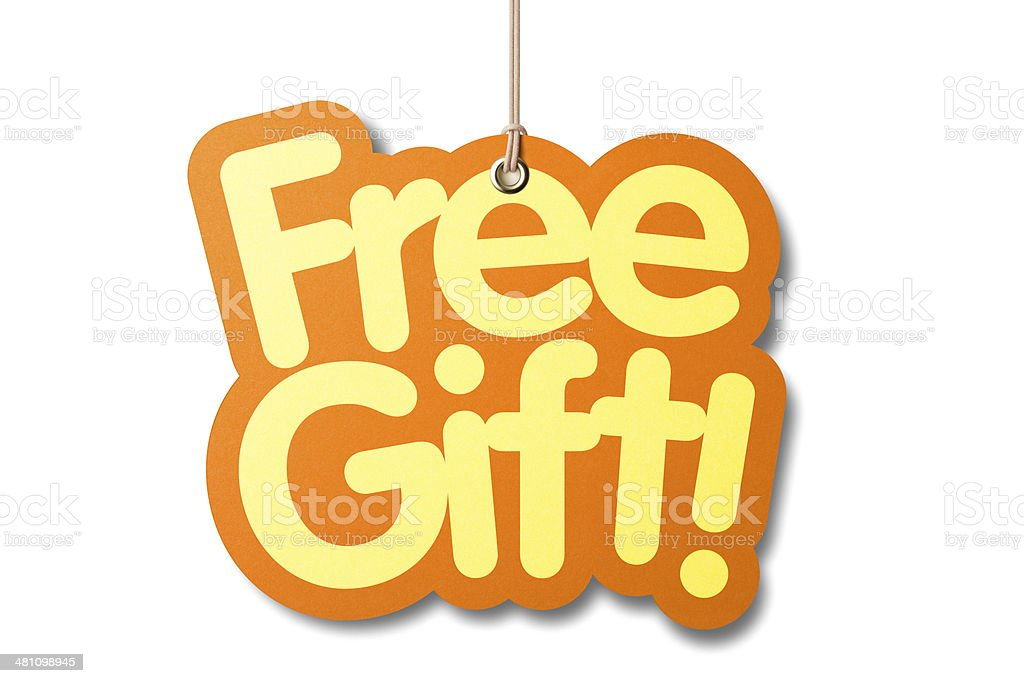 FREE GIFT shaped label on price tag royalty-free stock photo