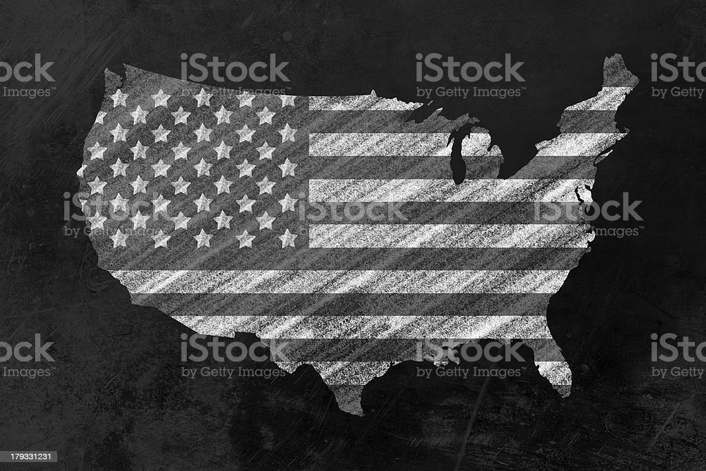 USA shaped us flag on a blackboard royalty-free stock photo