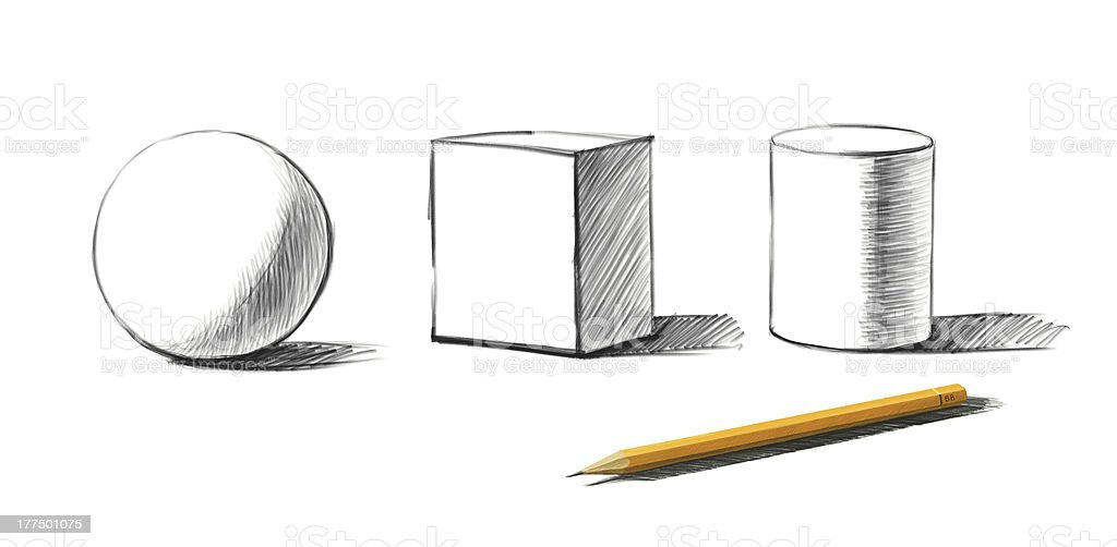 shapes and graphite pencil stock photo