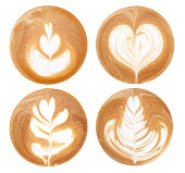 4 shapes of latte art styles on white background isolated