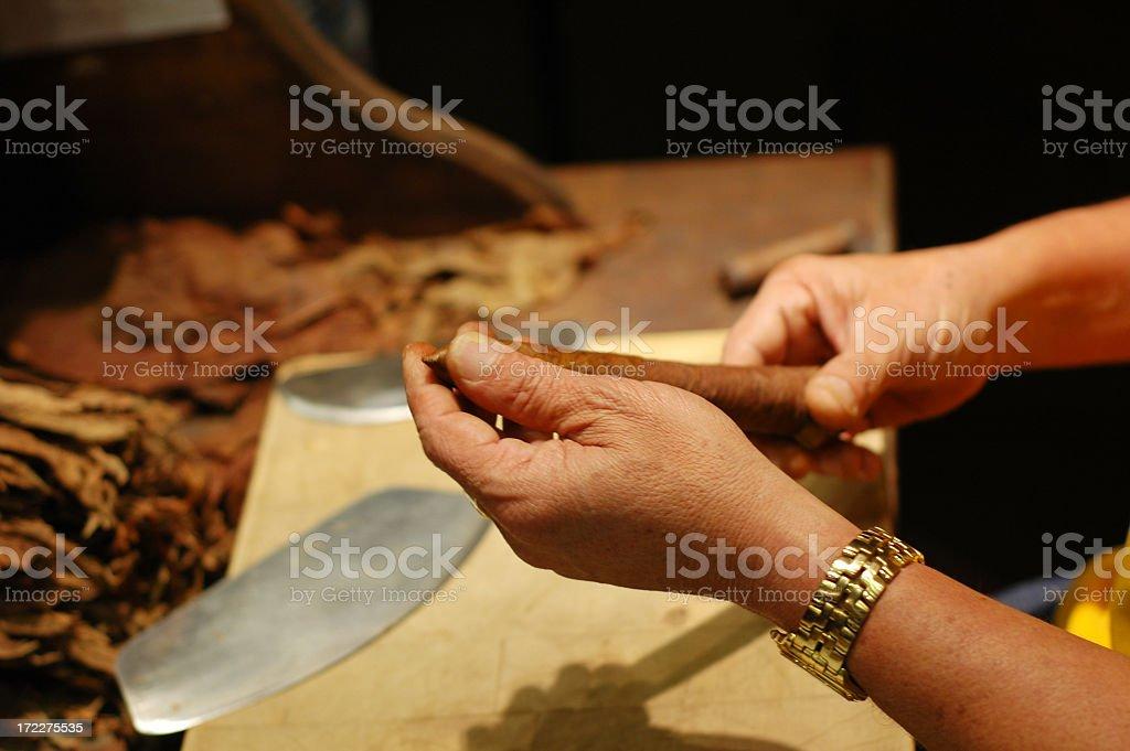 Shaping a cigar royalty-free stock photo