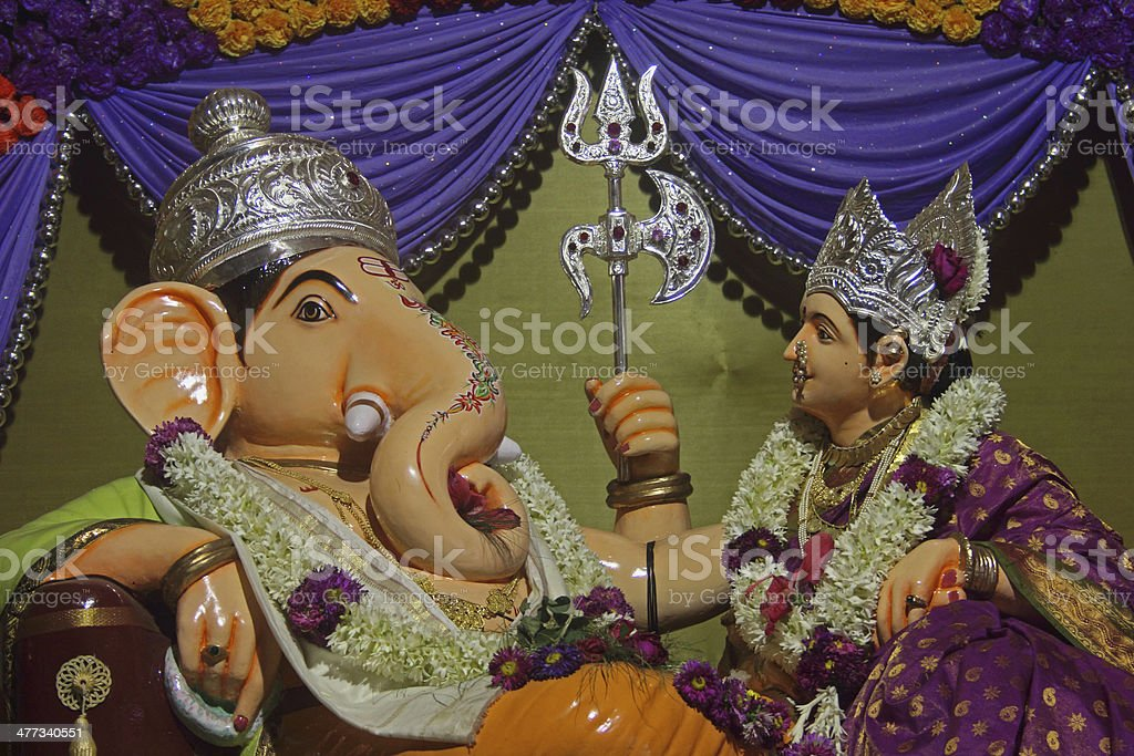 Sharada-Ganesh idol mandai royalty-free stock photo
