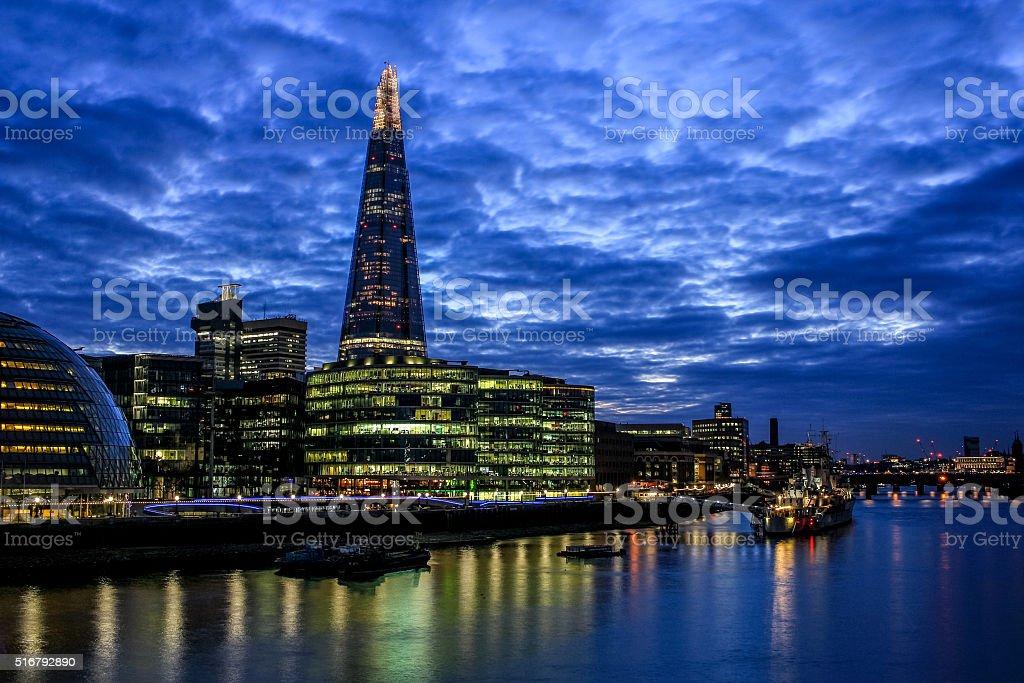 Shard, More London and the river Thames at sundown. stock photo