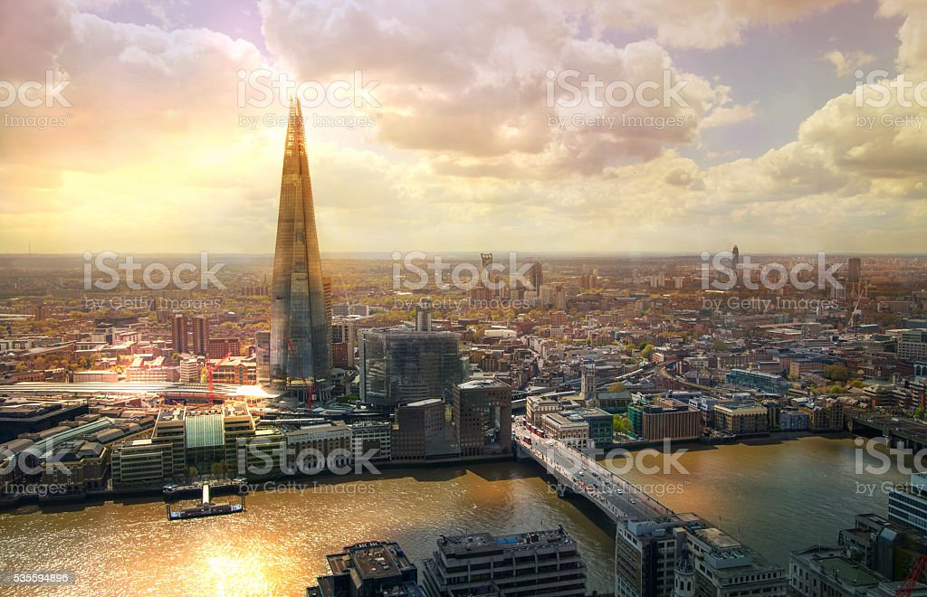 Shard of glass at sunset, London stock photo