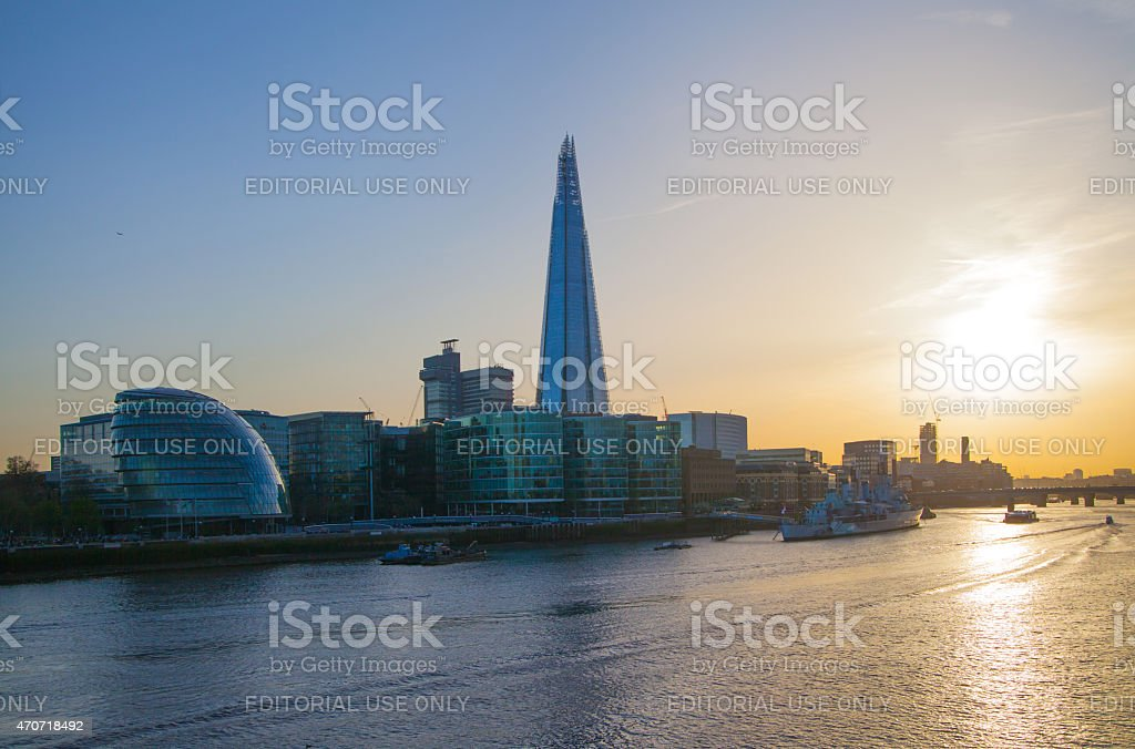 Shard of glass in sunset. London stock photo