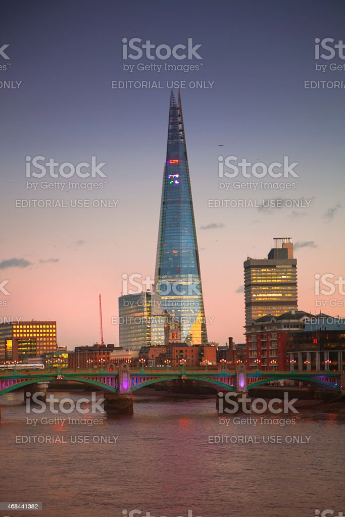 Shard of glass in the dusk. City of London stock photo