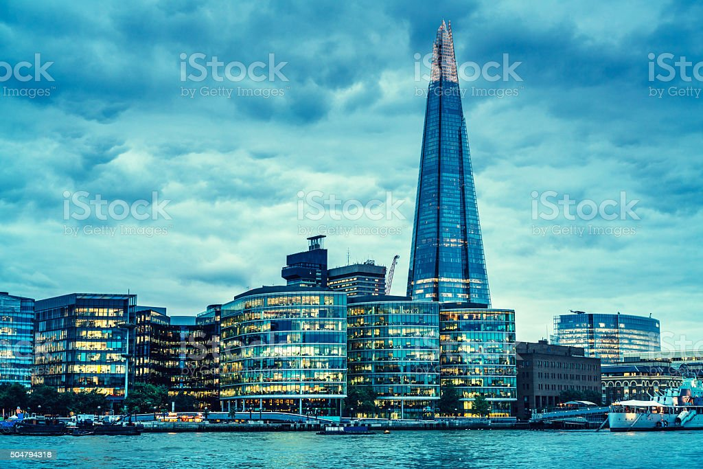 Shard on London skyline with clouds stock photo