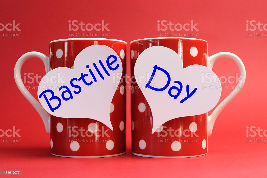 Share a cup of coffee for France Bastille Day. stock photo