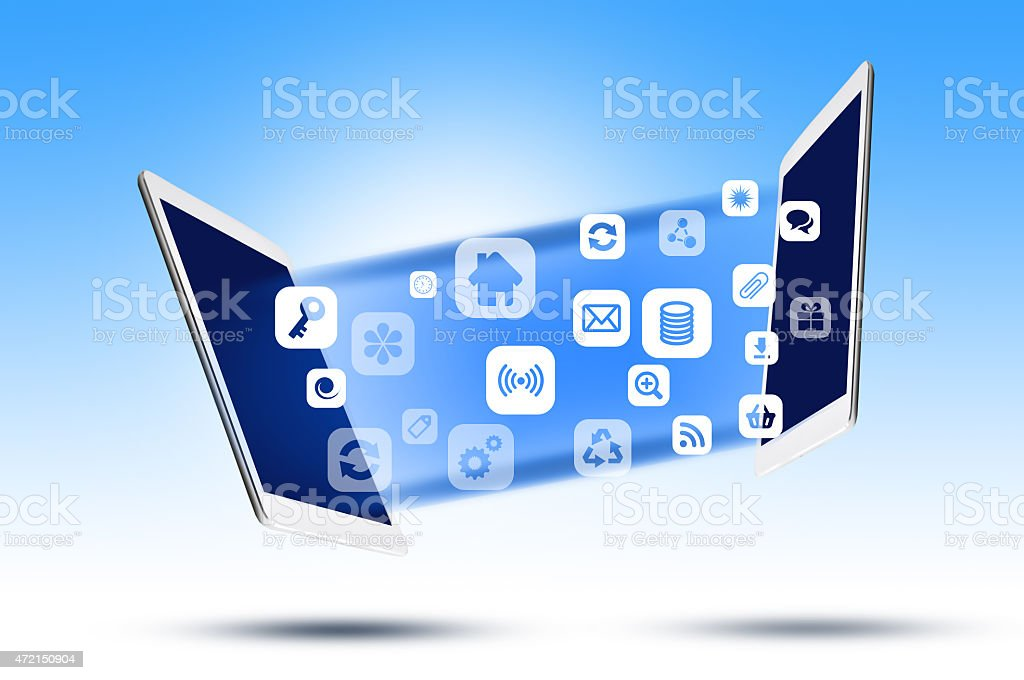 Share apps between digital devices or tablets stock photo