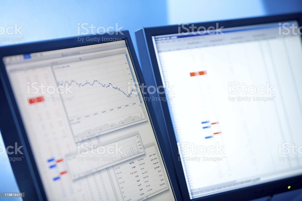 Share graph and prices stock photo