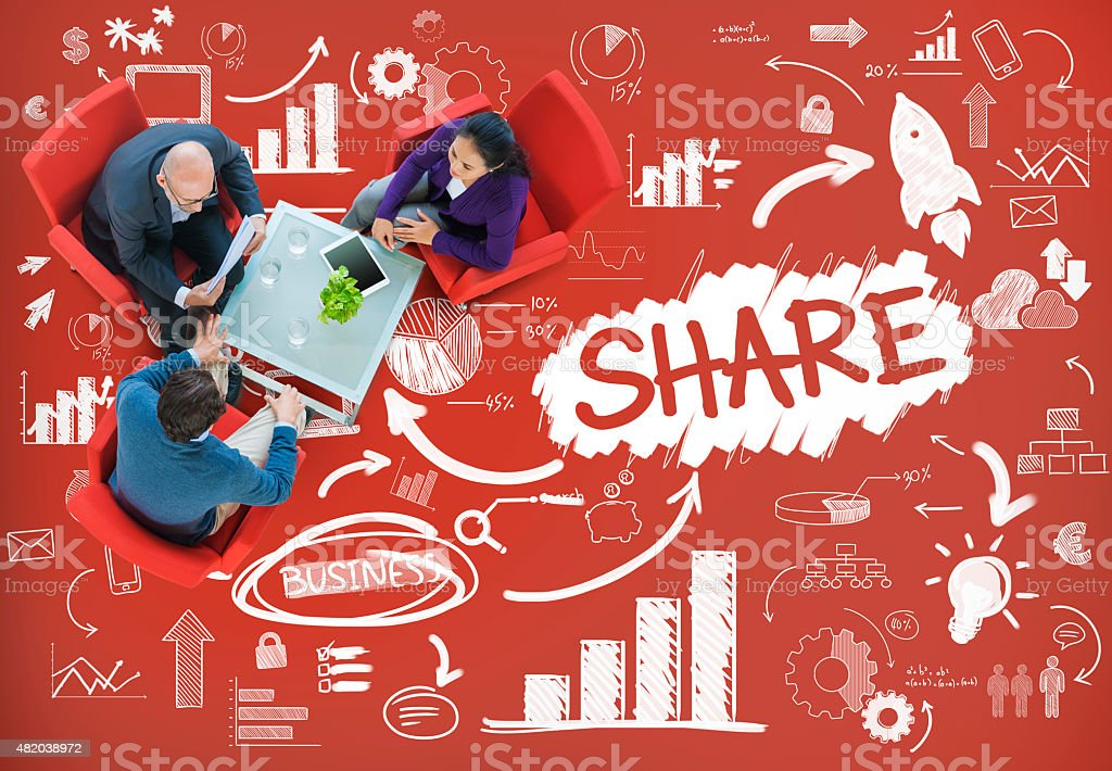 Share Sharing Connection Online Communication Networking Concept stock photo